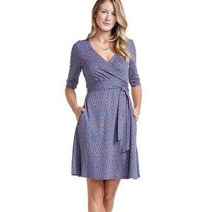 Toad and co cafe wrap dress blueberry XS organic